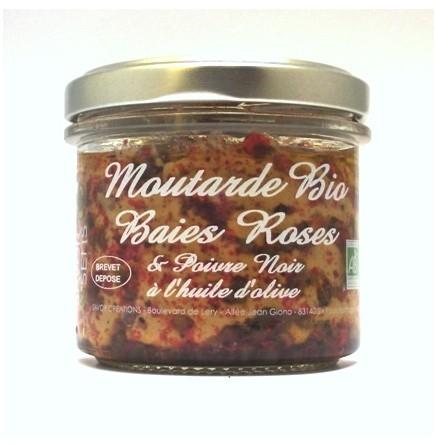 Moutarde bio baies roses et poivre noir